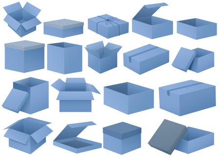 corrugated cardboard: Illustration of the set of blue boxes on a white background Illustration