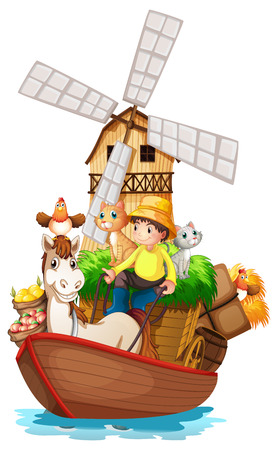 barnhouse: Illustration of a boat with farm animals and farm fruits on a white background Illustration