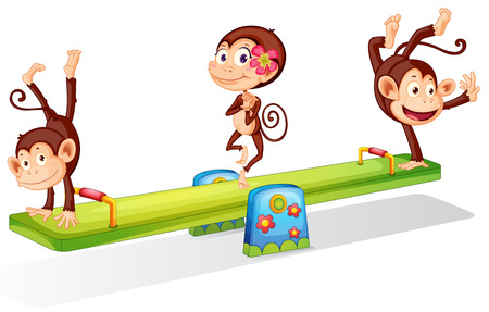 Illustration of the three playful monkeys playing with the seesaw on a white background