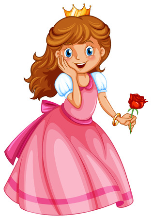 pic: Illustration of a happy little princess on a white background Illustration