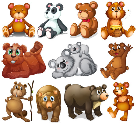collectibles: Illustration of the huggable teddy bears on a white background