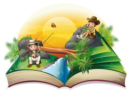 Ilustración de un libro sobre dos exploradores en un fondo blanco Ilustración de vector