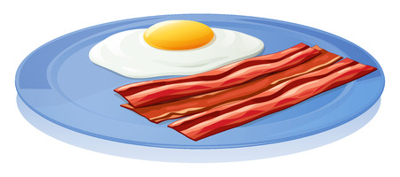 Illustration of a plate with an egg and a bacon on a white background Vector