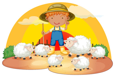 sheeps: Illustration of a young boy with his sheeps on a white background Illustration