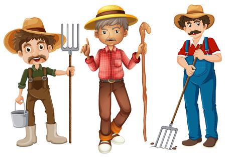 rural wooden bucket: Illustration of farmers set