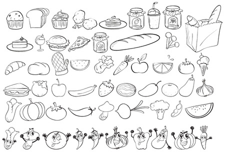illustration of different kind of food Vector