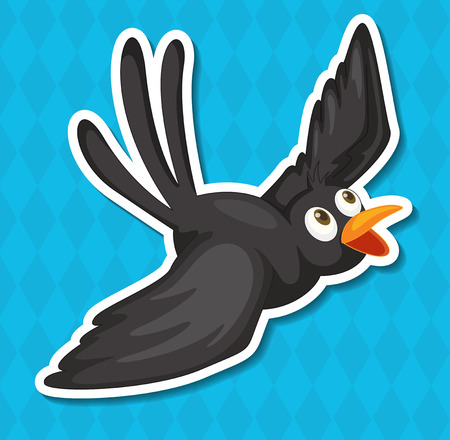 Illustration of a black bird with blue background Vector