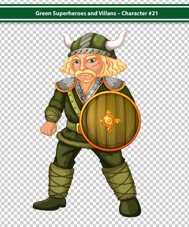 role model: Illustration of a male viking with a shield
