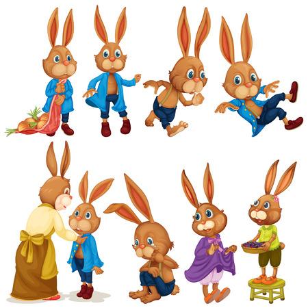 �nerv�e: Illustration de lapins avec diff�rentes poses