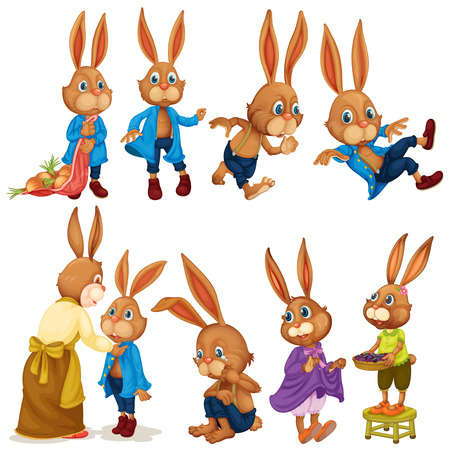 Illustration of rabbits with different poses Illustration