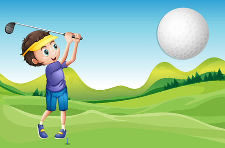 teen golf: Ilustración de un muchacho que juega golf Vectores