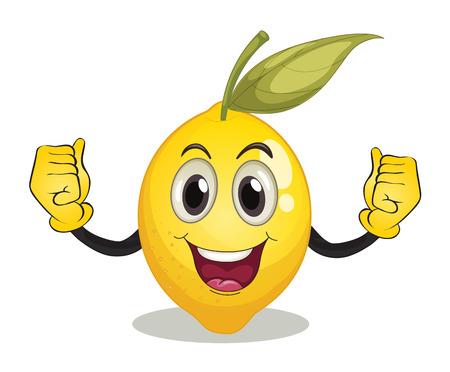 Illustratie van een citroen met gezicht