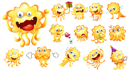 Illustration of a yellow monster with different actions Vector
