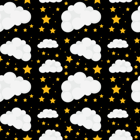 fluffy clouds: Illustration of a seamless stars and clouds Illustration