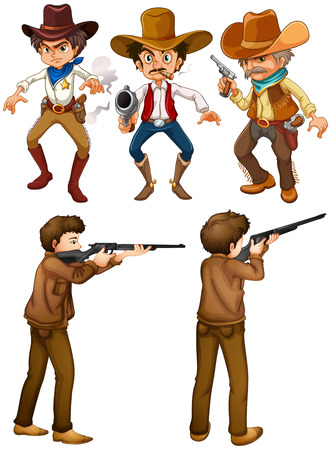 Illustraion of cowboys and hunters Vector