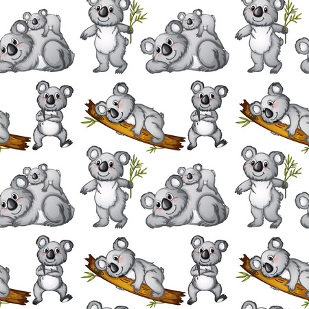 Illustration of a seamless koala Vector