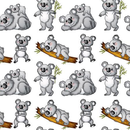 Illustratie van een naadloze koala