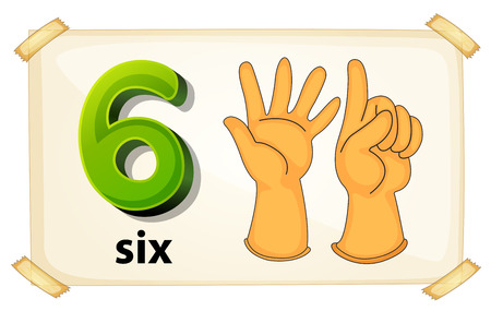 fingers: Illustration of a flashcard number six