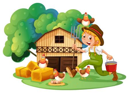 Illustration Of A Farmer And Barn Vector