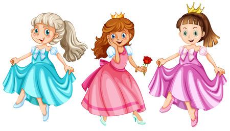 Illustration of three princesses Vector