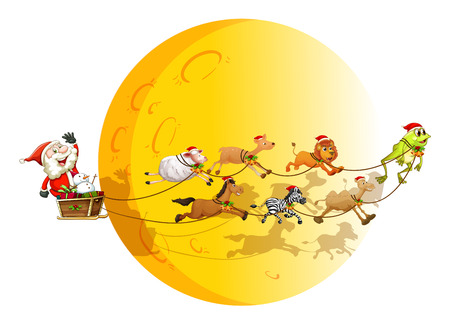 Illustraion of Santa on a sledge with many animals Vector