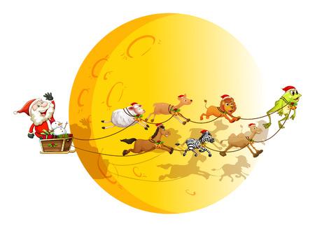 illustraion: Illustraion of Santa on a sledge with many animals Illustration