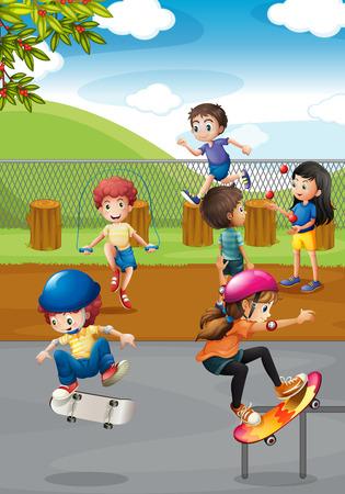 niños jugando en el parque: Ilustración de muchos niños jugando en un parque infantil