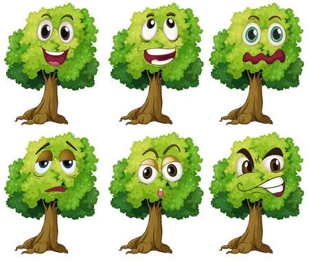 Illustratie van bomen met uitdrukkingen Stock Illustratie