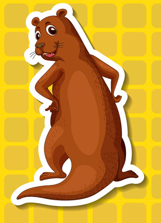 whisker: Illustration of a single otter with yellow background