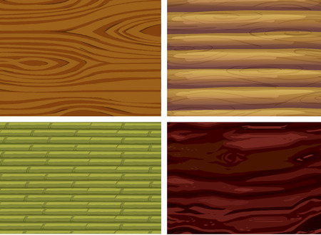 carpentry cartoon: Illustration of four different wood texture