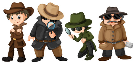police cartoon: Illustration of detectives set Illustration
