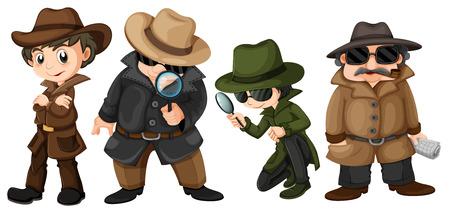 mystery man: Illustration of detectives set Illustration