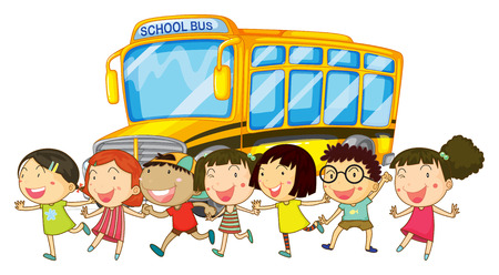 Illustration of students and a shcool bus Vector