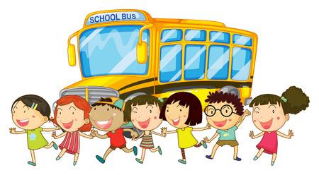 Illustration von Studenten und ein shcool Bus