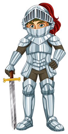knight armor: Illustraion of a male knight with a sword