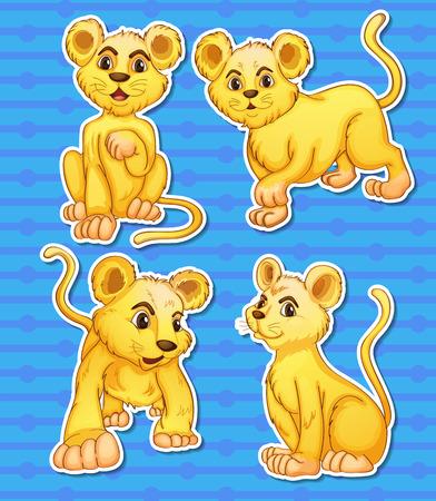 cachorro: Ilustración de los cachorros de león fijó Vectores