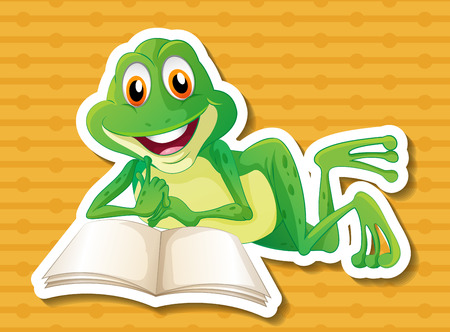 illustration of a frog reading a book Vector