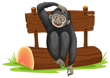 scratching: Illustration of a gibbon sitting on a log