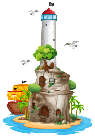 Illustration of a lighthouse on an island Vector