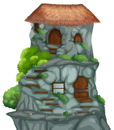 Illustration of cave houses on a clift Vector