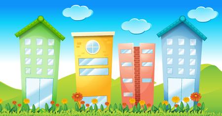 illustraion: Illustraion of many colorful buildings