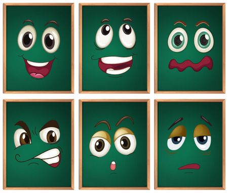 boring frame: Illustraion of chalckboard with expressions