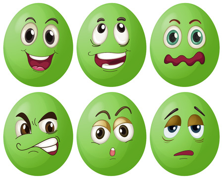 Illustration of six green eggs with expressions