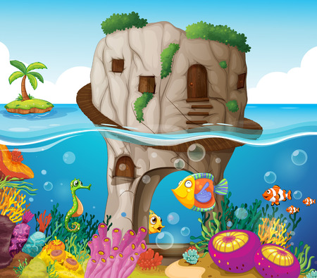 coral reef: illustration of a cave and ocean view