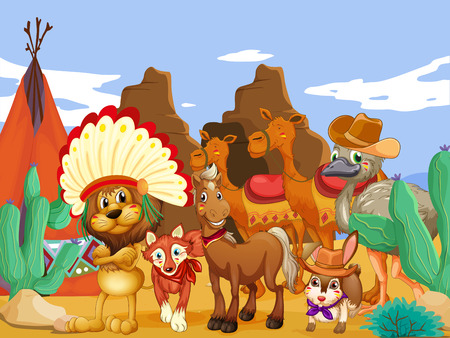 Illustration of many animals in the desert Vector