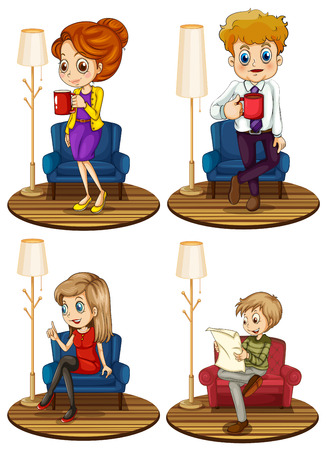 Illustration of four different adult with chair Vector