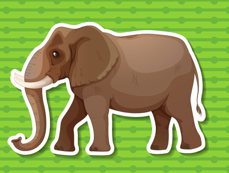 conserved: Illustraion of a single elephant with background