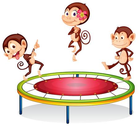 Illustration of monkey jumping on trampoline