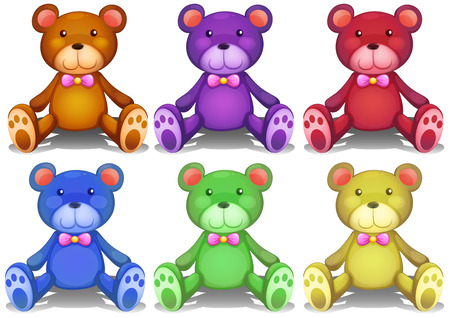 Illustration of different colors teddy bears