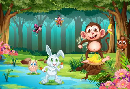 mono caricatura: Ilustración de muchos animales en una selva